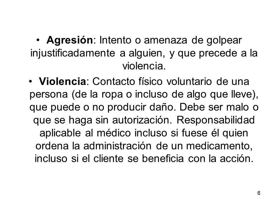 6 Agresión: Intento o amenaza de golpear injustificadamente a alguien, y que precede a la violencia. Violencia: Contacto físico voluntario de una pers