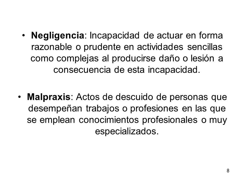 8 Negligencia: Incapacidad de actuar en forma razonable o prudente en actividades sencillas como complejas al producirse daño o lesión a consecuencia