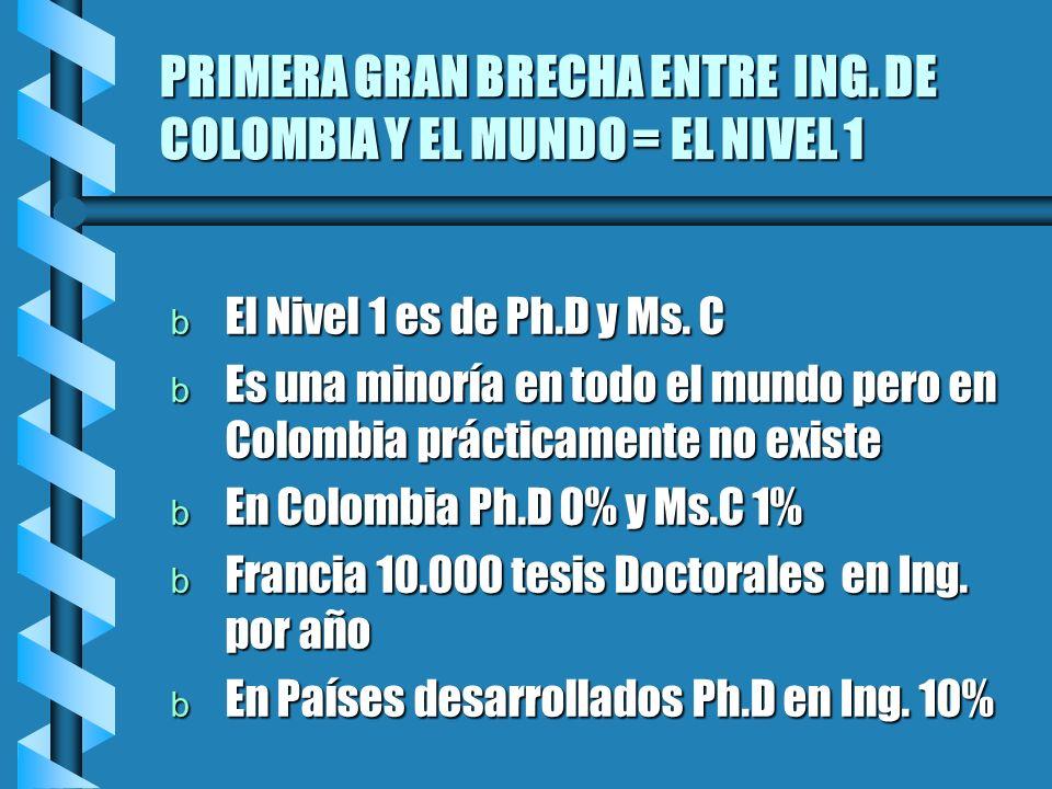 PRIMERA GRAN BRECHA ENTRE ING. DE COLOMBIA Y EL MUNDO = EL NIVEL 1 b El Nivel 1 es de Ph.D y Ms. C b Es una minoría en todo el mundo pero en Colombia