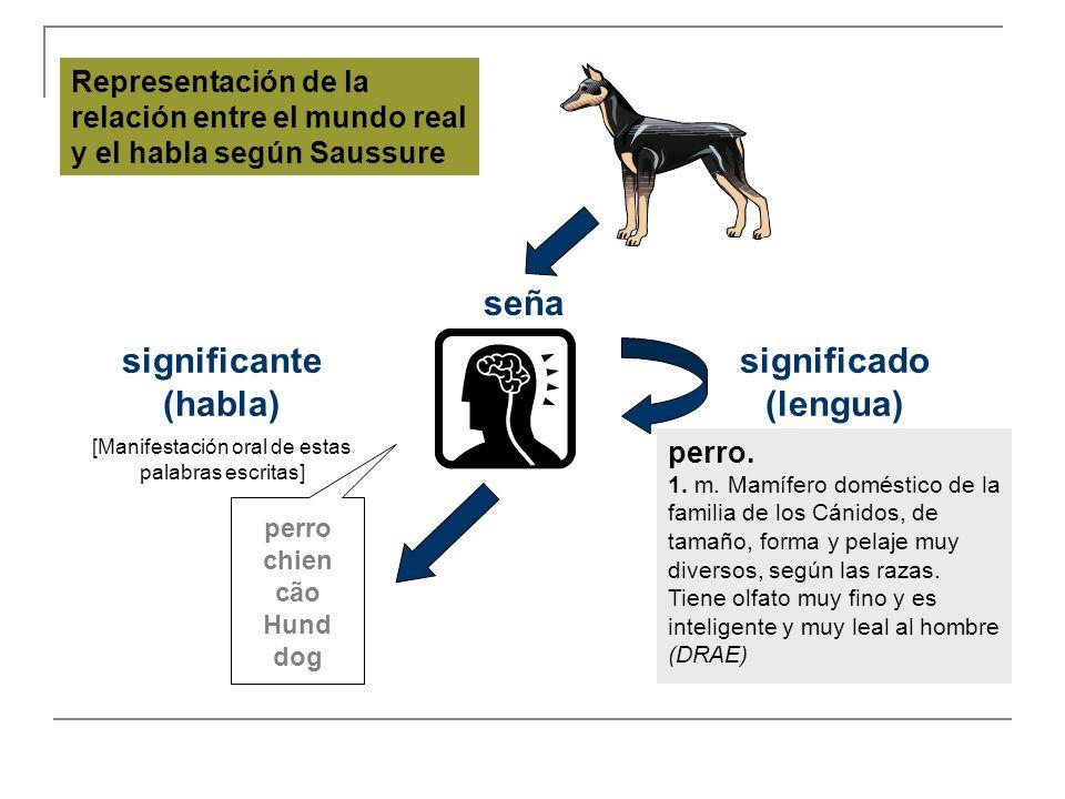 seña significante (habla) significado (lengua) [Manifestación oral de estas palabras escritas] perro. 1. m. Mamífero doméstico de la familia de los Cá