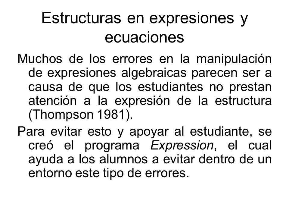 Estructuras en expresiones y ecuaciones Muchos de los errores en la manipulación de expresiones algebraicas parecen ser a causa de que los estudiantes