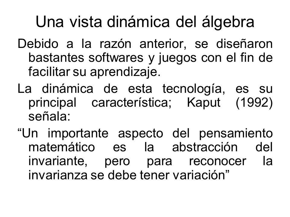 Una vista dinámica del álgebra Debido a la razón anterior, se diseñaron bastantes softwares y juegos con el fin de facilitar su aprendizaje. La dinámi