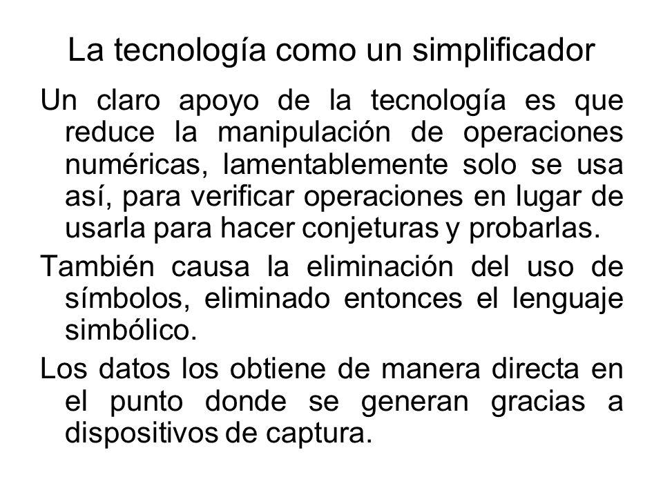 La tecnología como un simplificador Un claro apoyo de la tecnología es que reduce la manipulación de operaciones numéricas, lamentablemente solo se us
