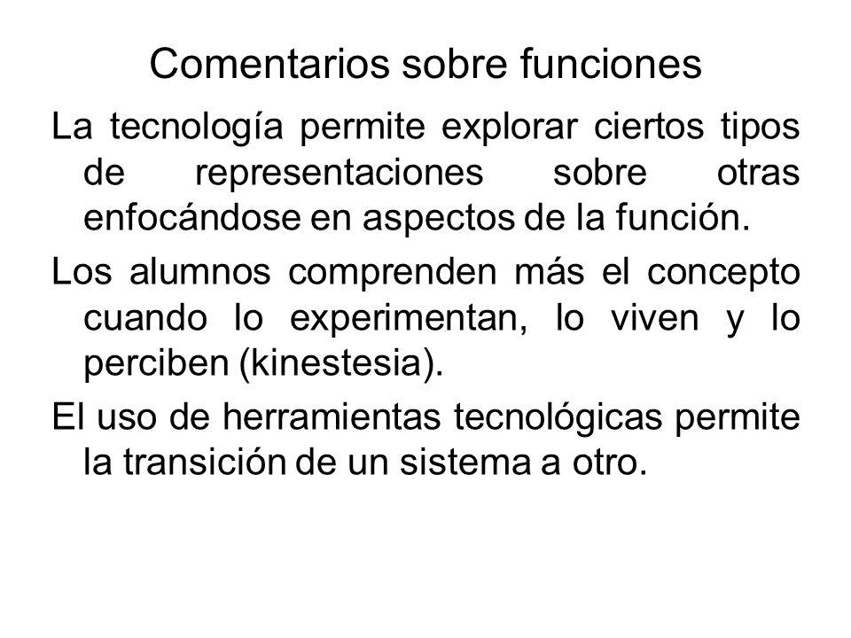Comentarios sobre funciones La tecnología permite explorar ciertos tipos de representaciones sobre otras enfocándose en aspectos de la función. Los al