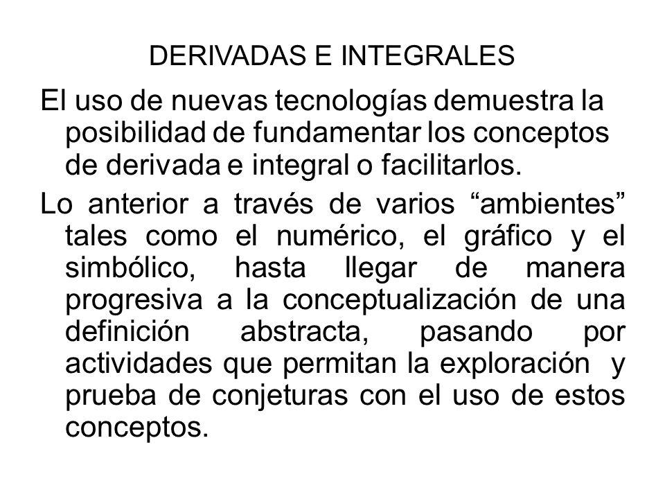 El uso de nuevas tecnologías demuestra la posibilidad de fundamentar los conceptos de derivada e integral o facilitarlos. Lo anterior a través de vari