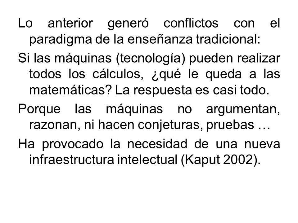 Lo anterior generó conflictos con el paradigma de la enseñanza tradicional: Si las máquinas (tecnología) pueden realizar todos los cálculos, ¿qué le q