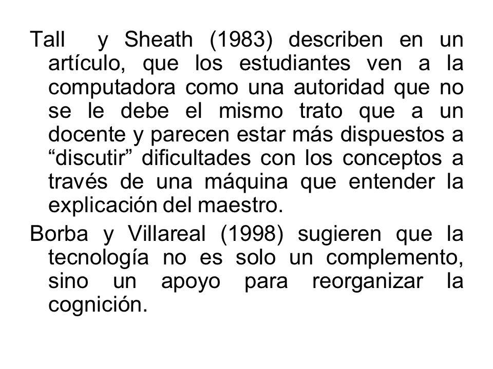 Tall y Sheath (1983) describen en un artículo, que los estudiantes ven a la computadora como una autoridad que no se le debe el mismo trato que a un d
