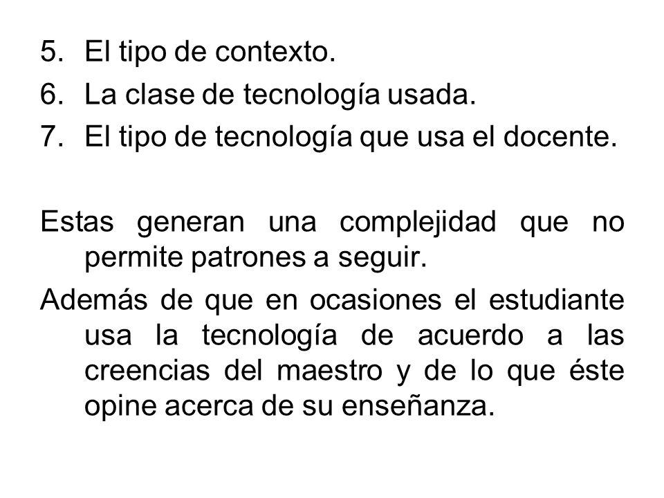 5.El tipo de contexto. 6.La clase de tecnología usada. 7.El tipo de tecnología que usa el docente. Estas generan una complejidad que no permite patron