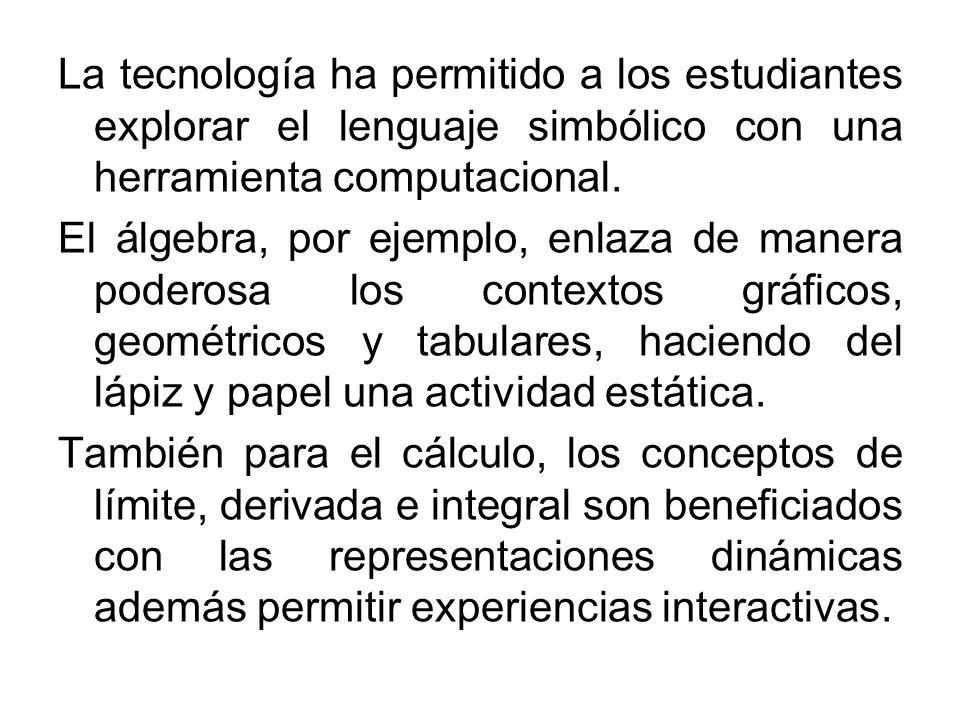 La tecnología ha permitido a los estudiantes explorar el lenguaje simbólico con una herramienta computacional. El álgebra, por ejemplo, enlaza de mane