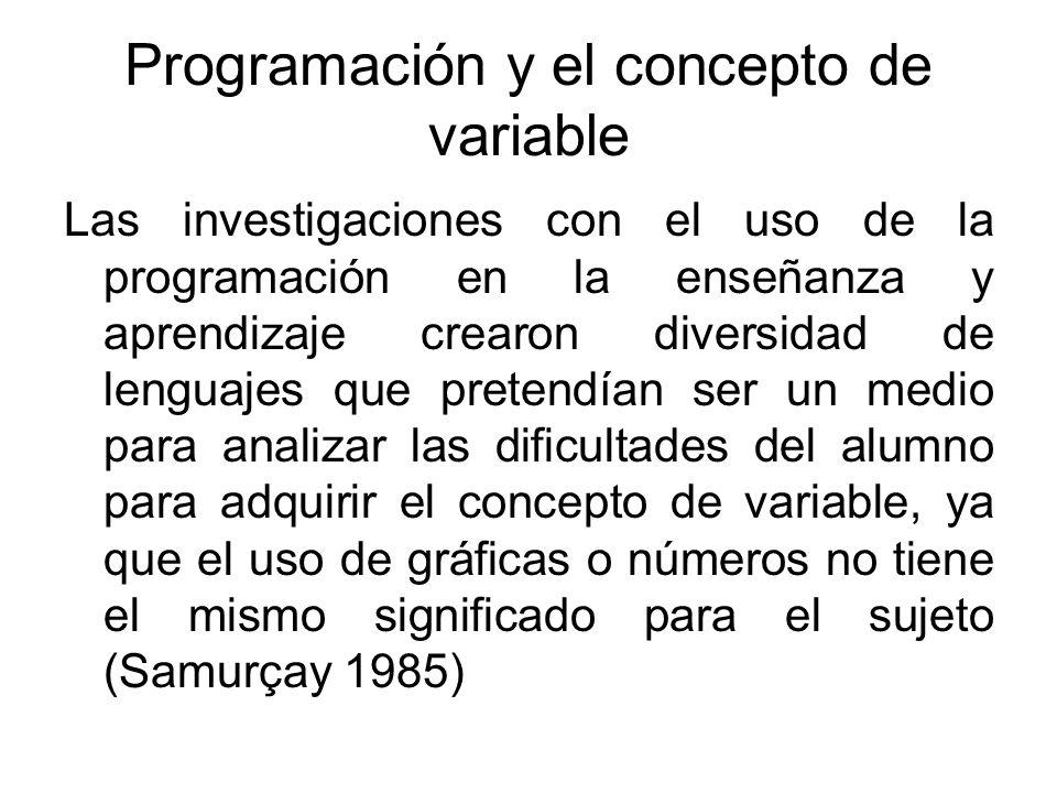 Programación y el concepto de variable Las investigaciones con el uso de la programación en la enseñanza y aprendizaje crearon diversidad de lenguajes