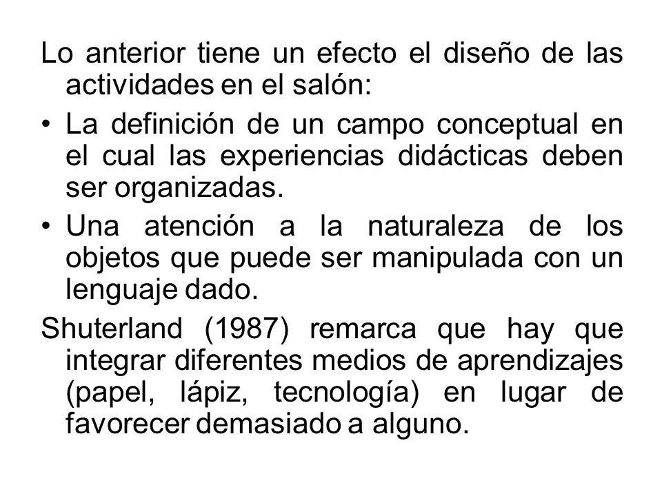 Lo anterior tiene un efecto el diseño de las actividades en el salón: La definición de un campo conceptual en el cual las experiencias didácticas debe