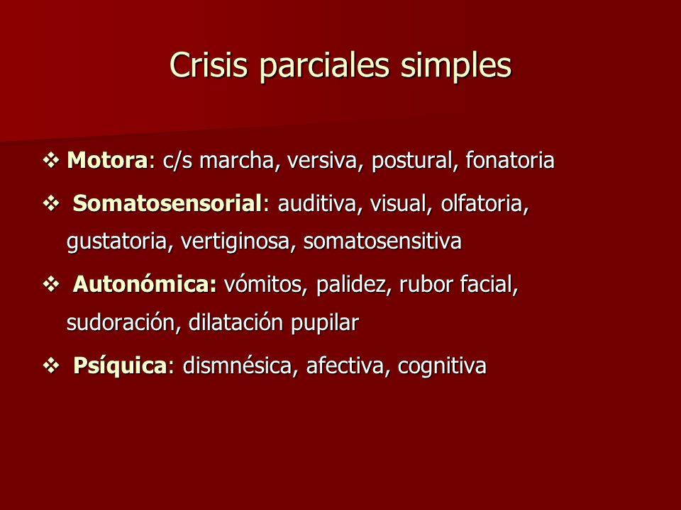 Crisis parciales simples Motora: c/s marcha, versiva, postural, fonatoria Motora: c/s marcha, versiva, postural, fonatoria Somatosensorial: auditiva,