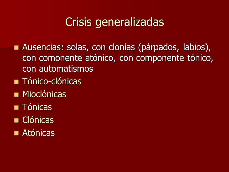 Crisis generalizadas Ausencias: solas, con clonías (párpados, labios), con comonente atónico, con componente tónico, con automatismos Ausencias: solas