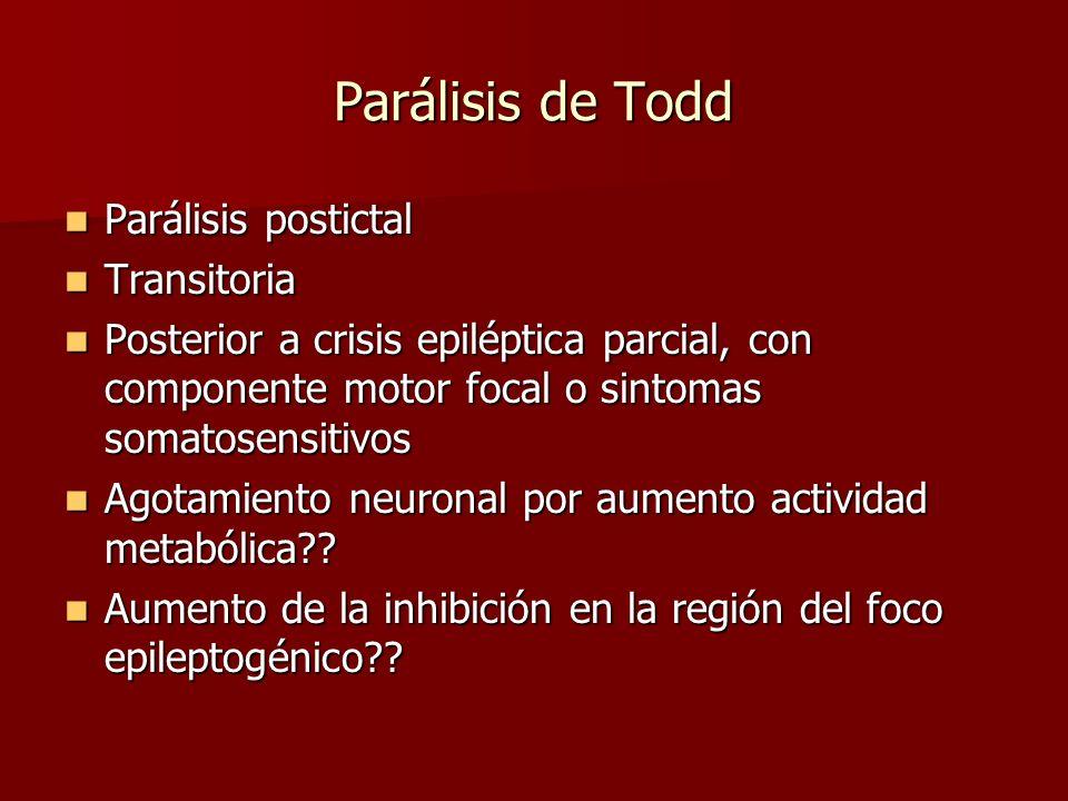 Parálisis de Todd Parálisis postictal Parálisis postictal Transitoria Transitoria Posterior a crisis epiléptica parcial, con componente motor focal o