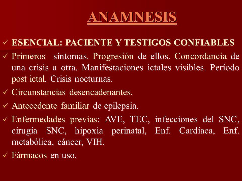 ANAMNESIS ANAMNESIS ESENCIAL: PACIENTE Y TESTIGOS CONFIABLES Primeros síntomas. Progresión de ellos. Concordancia de una crisis a otra. Manifestacione