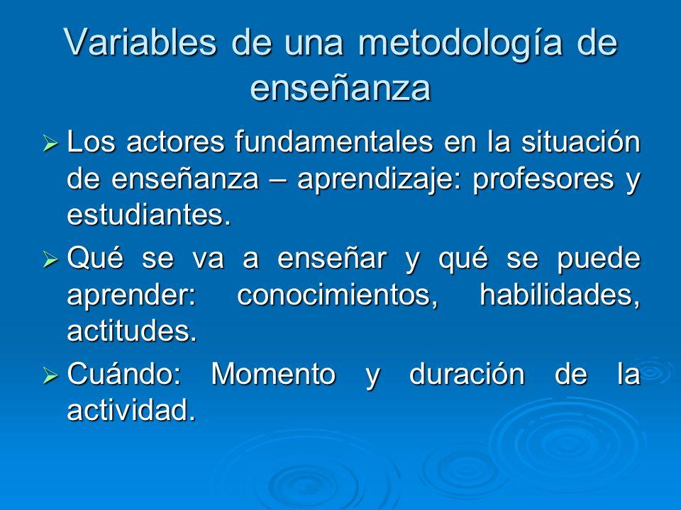 Variables de una metodología de enseñanza Los actores fundamentales en la situación de enseñanza – aprendizaje: profesores y estudiantes.