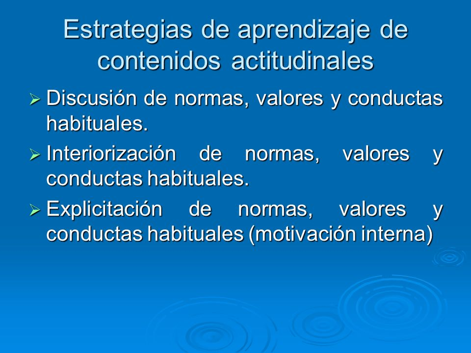 Estrategias de aprendizaje de contenidos actitudinales Discusión de normas, valores y conductas habituales.
