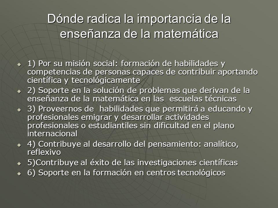 Ejes para un análisis del desarrollo de la enseñanza de la Matemática.