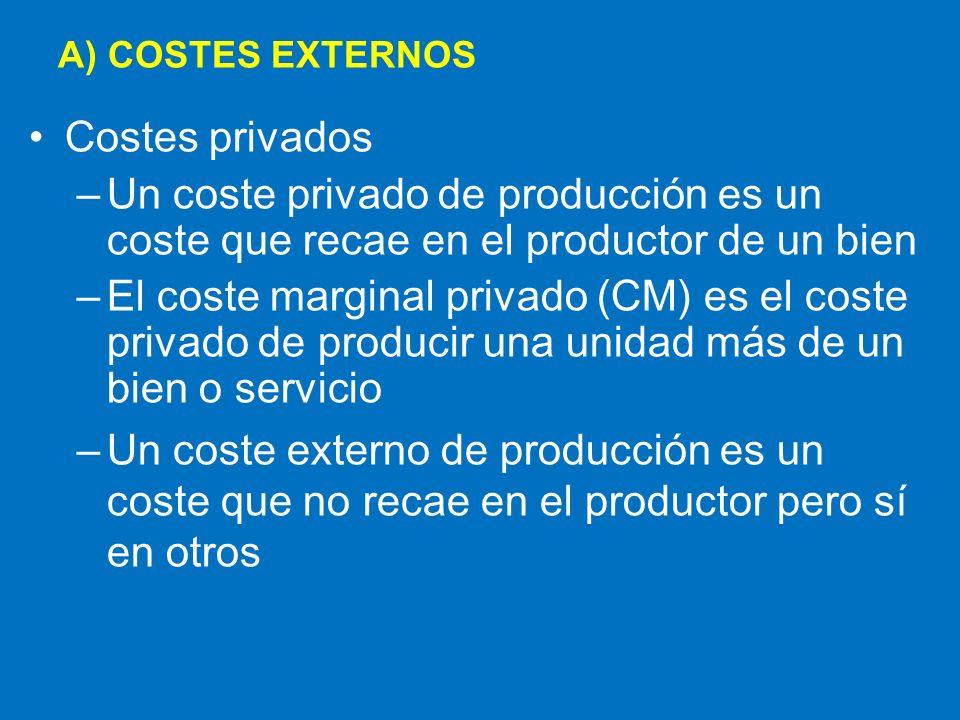 –El coste marginal social es el coste marginal incurrido por la sociedad entera -por el productor y todo aquel sobre quien el coste recaiga –Es la suma del coste marginal privado y el coste marginal externo –CMS = CM + CM externo