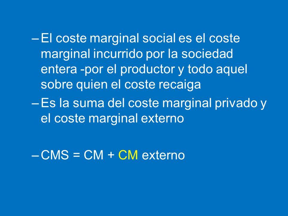 –El coste marginal social es el coste marginal incurrido por la sociedad entera -por el productor y todo aquel sobre quien el coste recaiga –Es la sum
