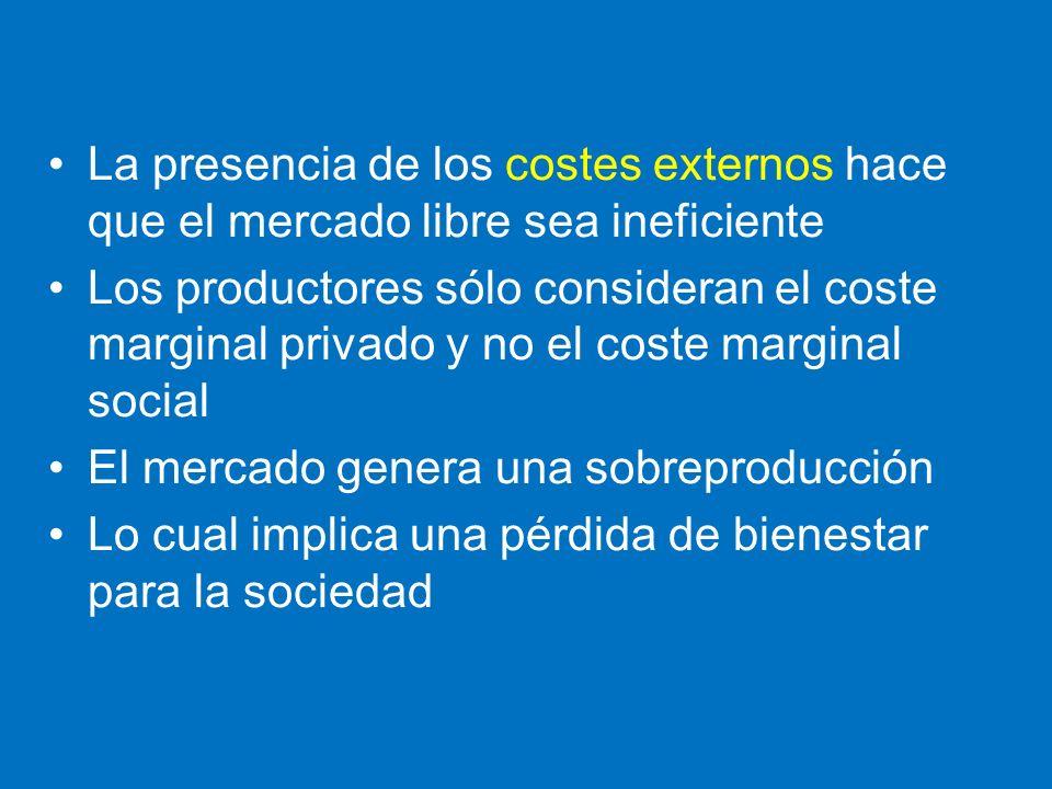 La presencia de los costes externos hace que el mercado libre sea ineficiente Los productores sólo consideran el coste marginal privado y no el coste