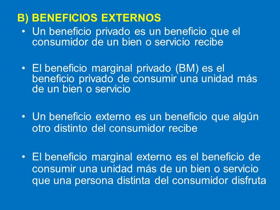 B) BENEFICIOS EXTERNOS Un beneficio privado es un beneficio que el consumidor de un bien o servicio recibe El beneficio marginal privado (BM) es el be