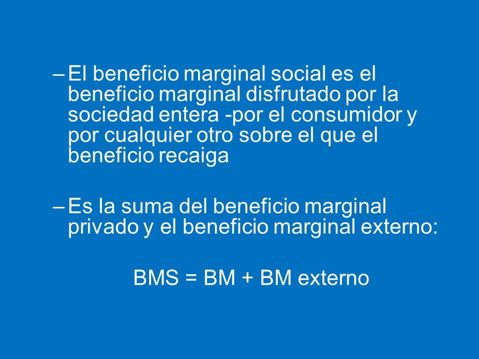 –El beneficio marginal social es el beneficio marginal disfrutado por la sociedad entera -por el consumidor y por cualquier otro sobre el que el benef