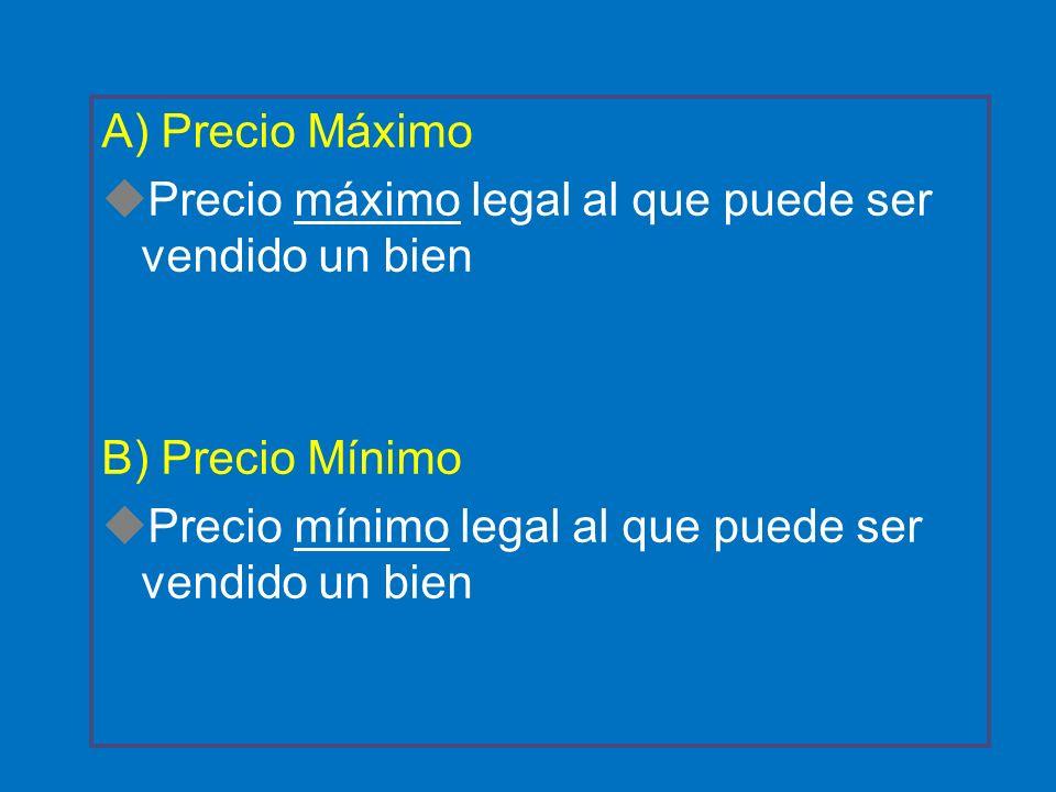A) Precio Máximo uPrecio máximo legal al que puede ser vendido un bien B) Precio Mínimo uPrecio mínimo legal al que puede ser vendido un bien