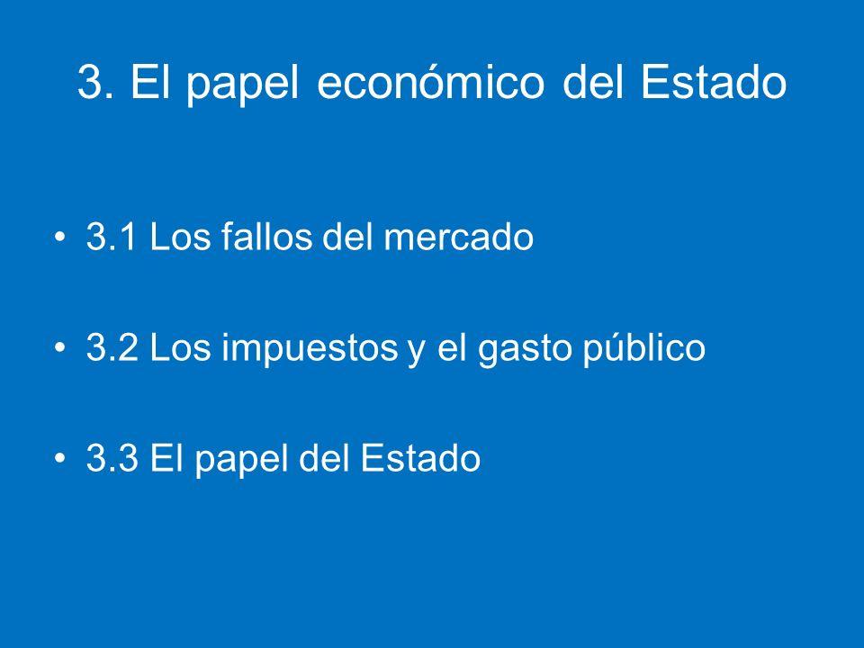 3. El papel económico del Estado 3.1 Los fallos del mercado 3.2 Los impuestos y el gasto público 3.3 El papel del Estado