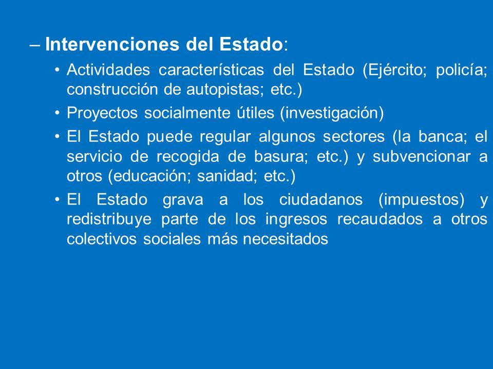 –Intervenciones del Estado: Actividades características del Estado (Ejército; policía; construcción de autopistas; etc.) Proyectos socialmente útiles