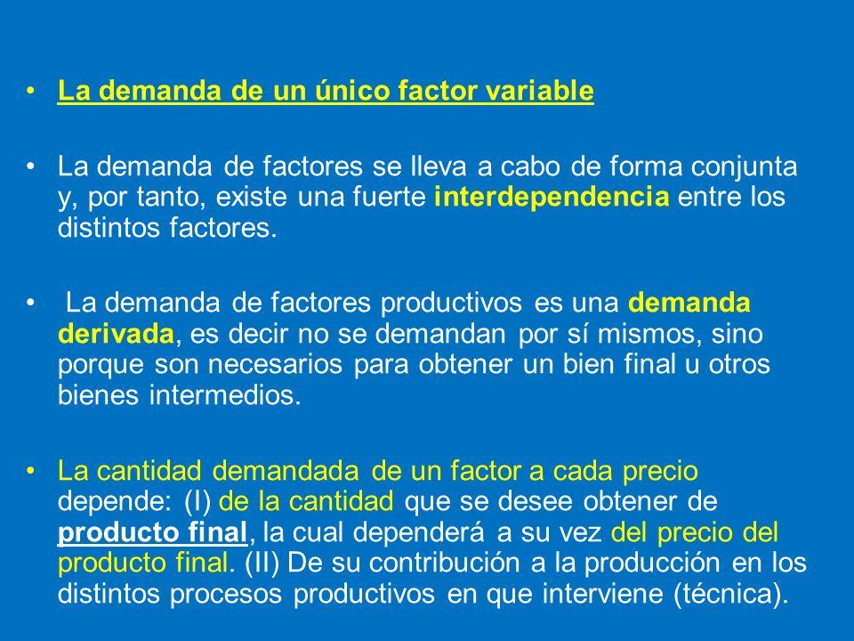 La demanda de un único factor variable La demanda de factores se lleva a cabo de forma conjunta y, por tanto, existe una fuerte interdependencia entre