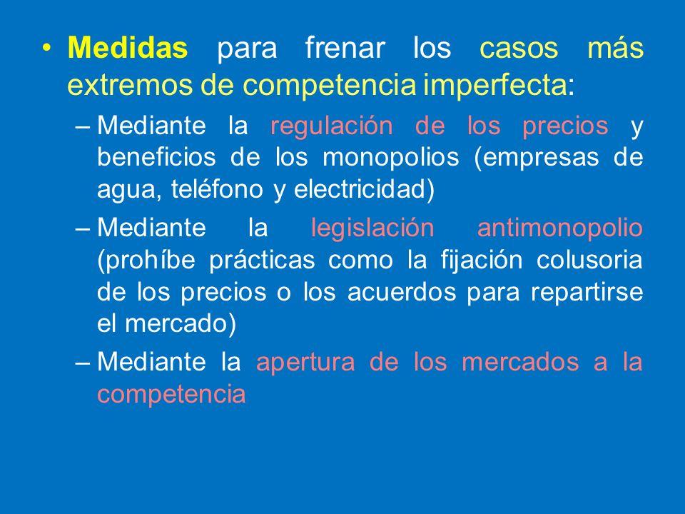 Medidas para frenar los casos más extremos de competencia imperfecta: –Mediante la regulación de los precios y beneficios de los monopolios (empresas
