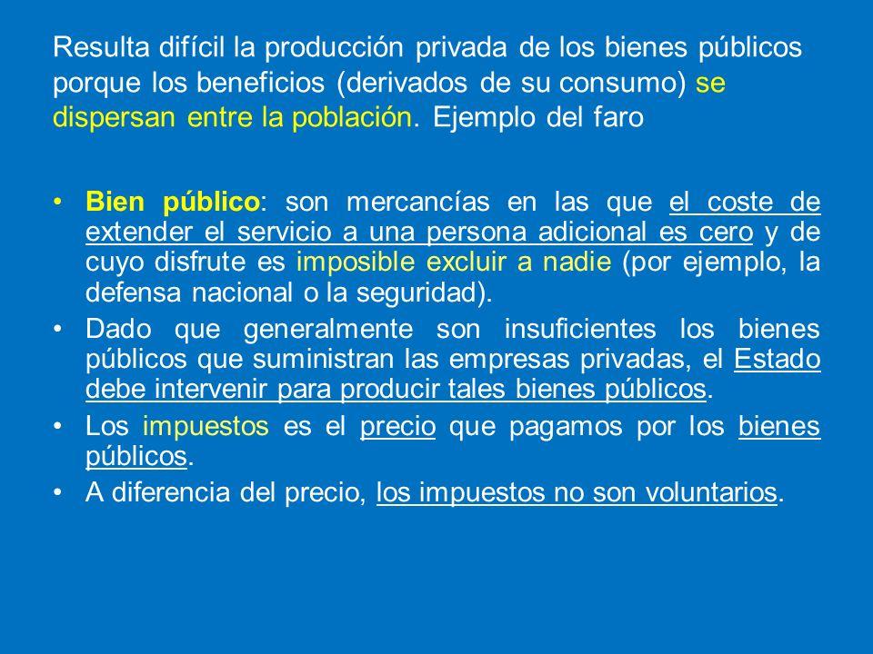 Resulta difícil la producción privada de los bienes públicos porque los beneficios (derivados de su consumo) se dispersan entre la población. Ejemplo