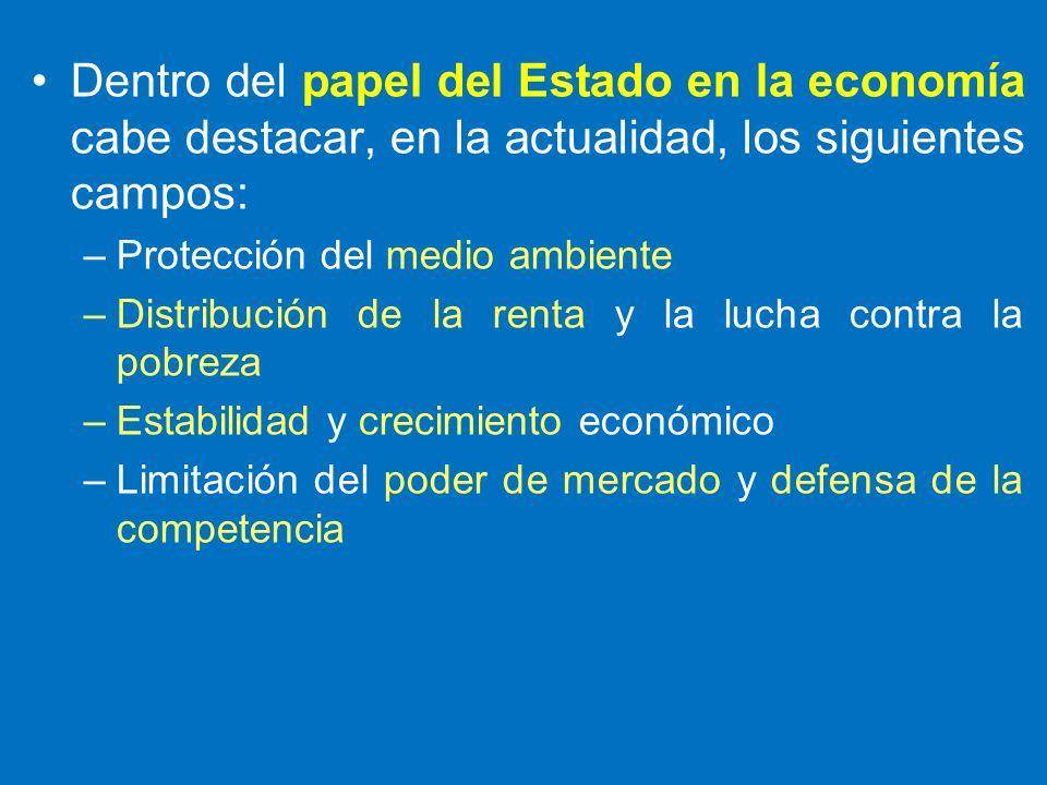 Dentro del papel del Estado en la economía cabe destacar, en la actualidad, los siguientes campos: –Protección del medio ambiente –Distribución de la