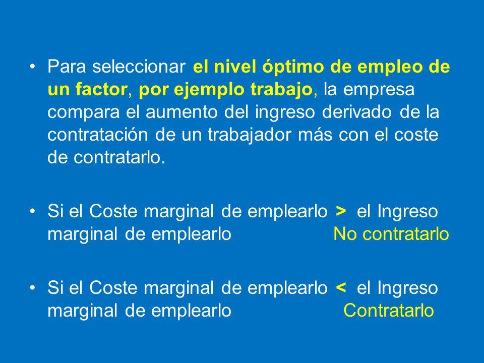 Para seleccionar el nivel óptimo de empleo de un factor, por ejemplo trabajo, la empresa compara el aumento del ingreso derivado de la contratación de