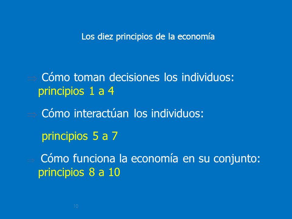 10 Los diez principios de la economía Cómo toman decisiones los individuos: principios 1 a 4 Cómo interactúan los individuos: principios 5 a 7 Cómo fu