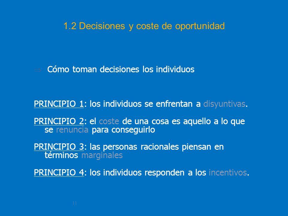11 1.2 Decisiones y coste de oportunidad Cómo toman decisiones los individuos PRINCIPIO 1: los individuos se enfrentan a disyuntivas. PRINCIPIO 2: el