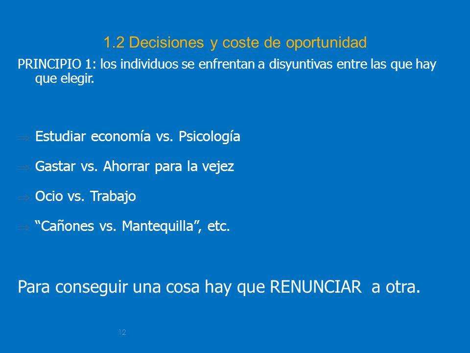 12 1.2 Decisiones y coste de oportunidad PRINCIPIO 1: los individuos se enfrentan a disyuntivas entre las que hay que elegir. Estudiar economía vs. Ps