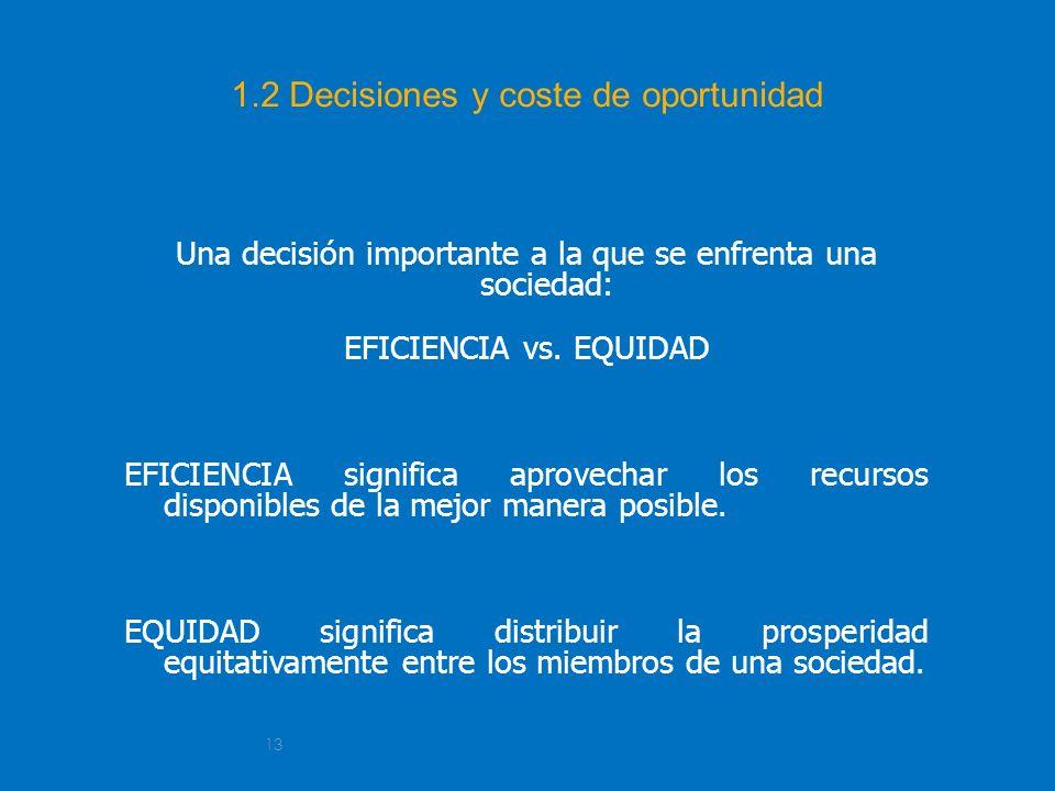 13 1.2 Decisiones y coste de oportunidad Una decisión importante a la que se enfrenta una sociedad: EFICIENCIA vs. EQUIDAD EFICIENCIA significa aprove