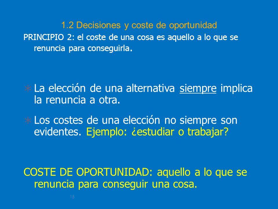 15 1.2 Decisiones y coste de oportunidad PRINCIPIO 2: el coste de una cosa es aquello a lo que se renuncia para conseguirla. La elección de una altern