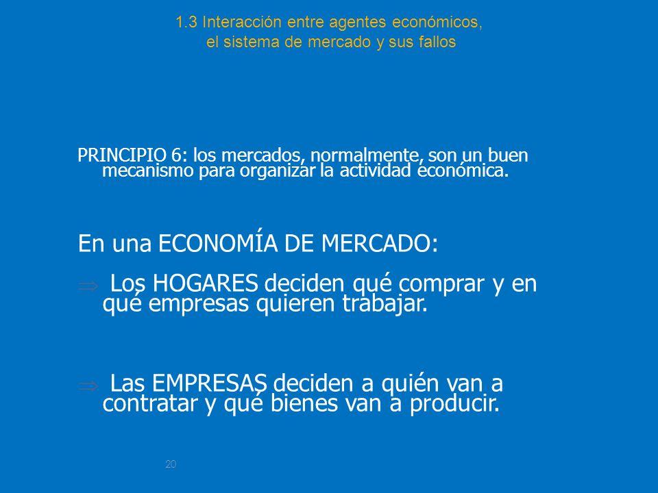 20 1.3 Interacción entre agentes económicos, el sistema de mercado y sus fallos PRINCIPIO 6: los mercados, normalmente, son un buen mecanismo para org