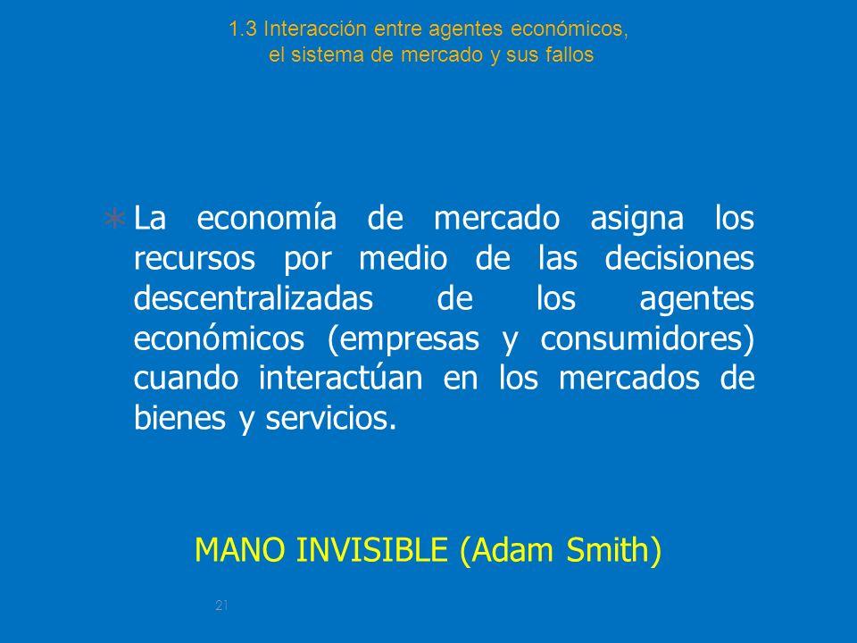 21 1.3 Interacción entre agentes económicos, el sistema de mercado y sus fallos La economía de mercado asigna los recursos por medio de las decisiones