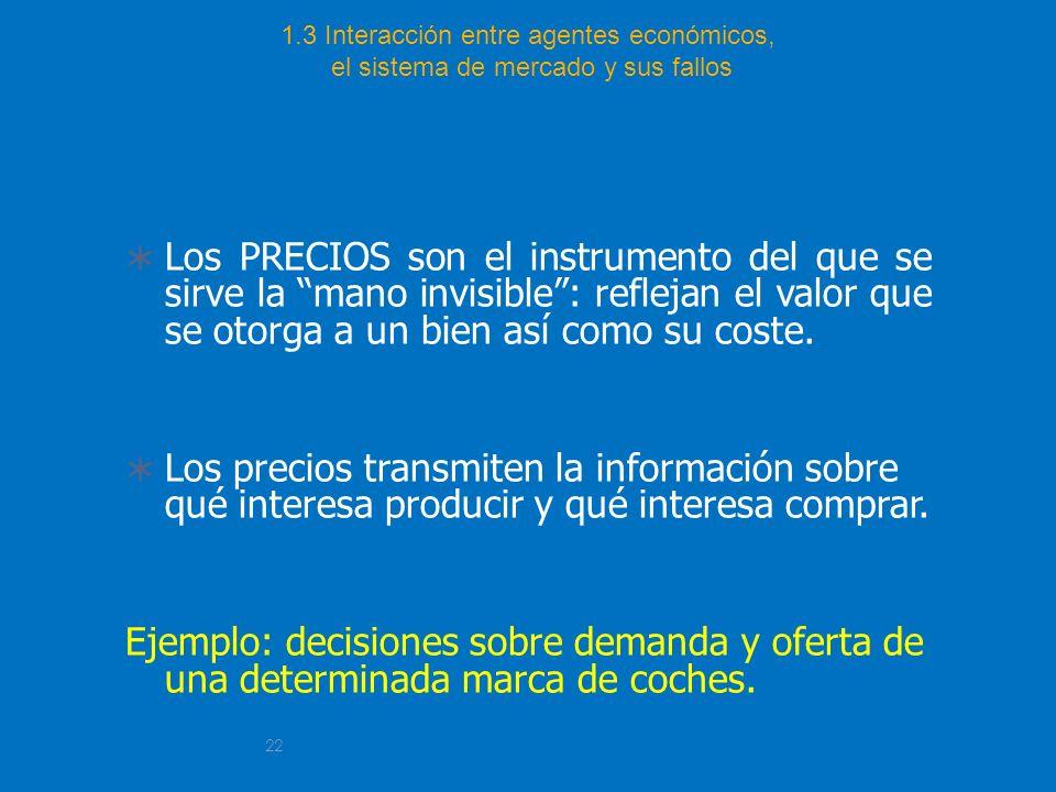 22 1.3 Interacción entre agentes económicos, el sistema de mercado y sus fallos Los PRECIOS son el instrumento del que se sirve la mano invisible: ref