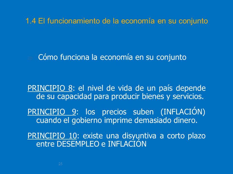 25 1.4 El funcionamiento de la economía en su conjunto Cómo funciona la economía en su conjunto PRINCIPIO 8: el nivel de vida de un país depende de su