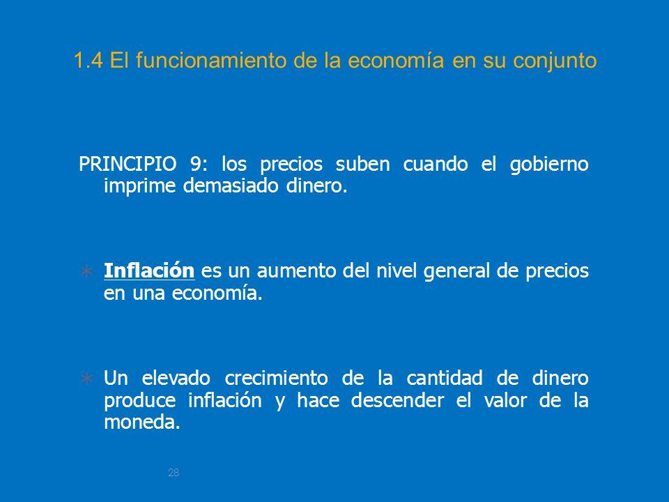 28 1.4 El funcionamiento de la economía en su conjunto PRINCIPIO 9: los precios suben cuando el gobierno imprime demasiado dinero. Inflación es un aum
