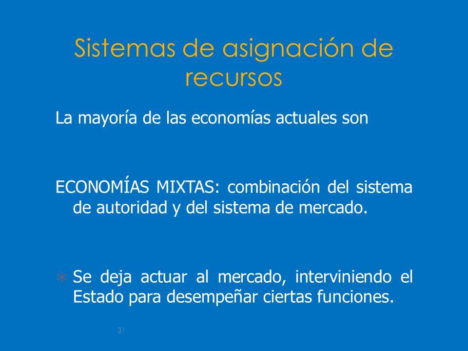 31 Sistemas de asignación de recursos La mayoría de las economías actuales son ECONOMÍAS MIXTAS: combinación del sistema de autoridad y del sistema de