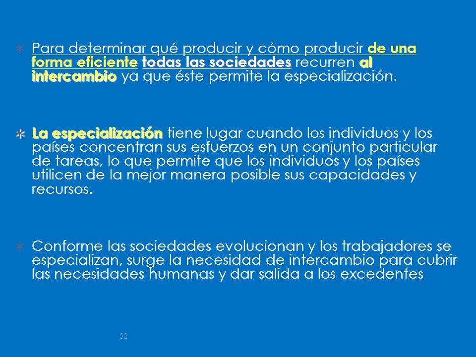 32 todas las sociedadesal intercambio Para determinar qué producir y cómo producir de una forma eficiente todas las sociedades recurren al intercambio