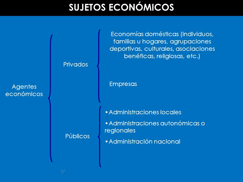 37 Agentes económicos Privados Economías domésticas (individuos, familias u hogares, agrupaciones deportivas, culturales, asociaciones benéficas, reli