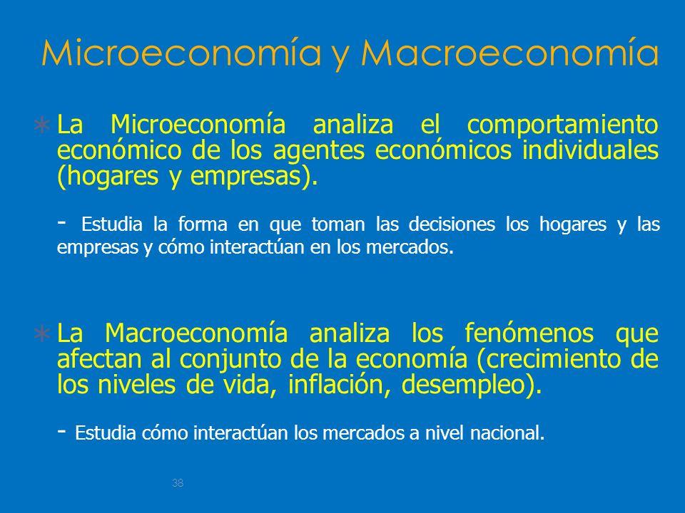 38 Microeconomía y Macroeconomía La Microeconomía analiza el comportamiento económico de los agentes económicos individuales (hogares y empresas). - E