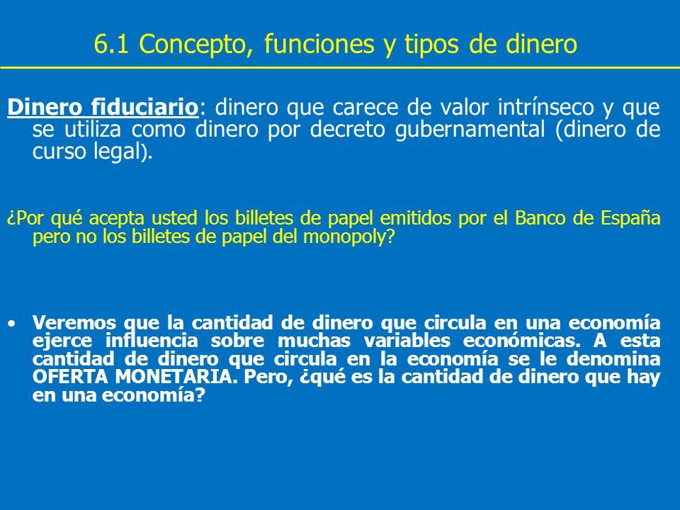 6.1 Concepto, funciones y tipos de dinero Dinero fiduciario: dinero que carece de valor intrínseco y que se utiliza como dinero por decreto gubernamen